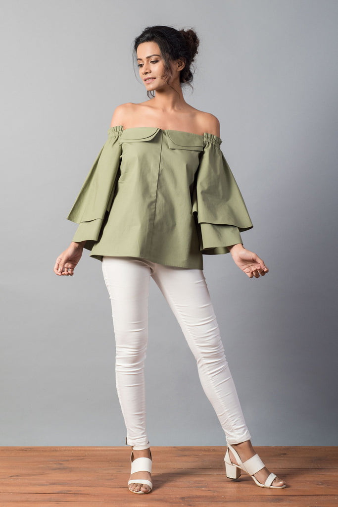 4a6136564f8c6d ... Double Collar Flared Sleeve Olive Off Shoulder Top ...