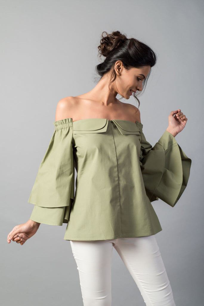 741754501c92a3 Details. This gorgeous off shoulder olive top with flared sleeves and double  collars ...