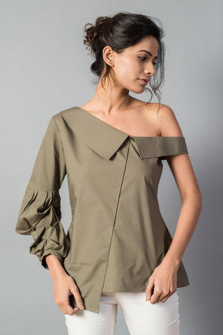 Ruched Sleeve One Shoulder Collar Top