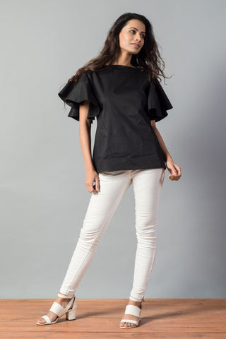 Bateau Neck Ruffle Sleeve Top