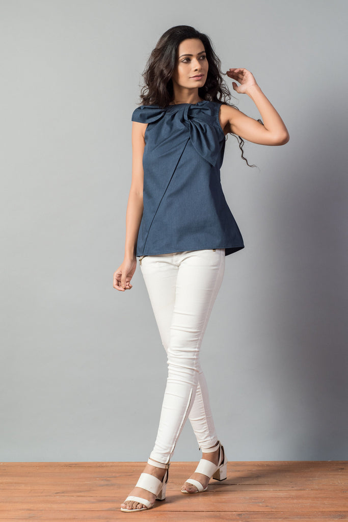Bow Knot Soft Denim Sleeveless Top