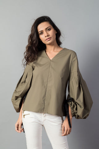 Balloon Sleeve Poplin Top
