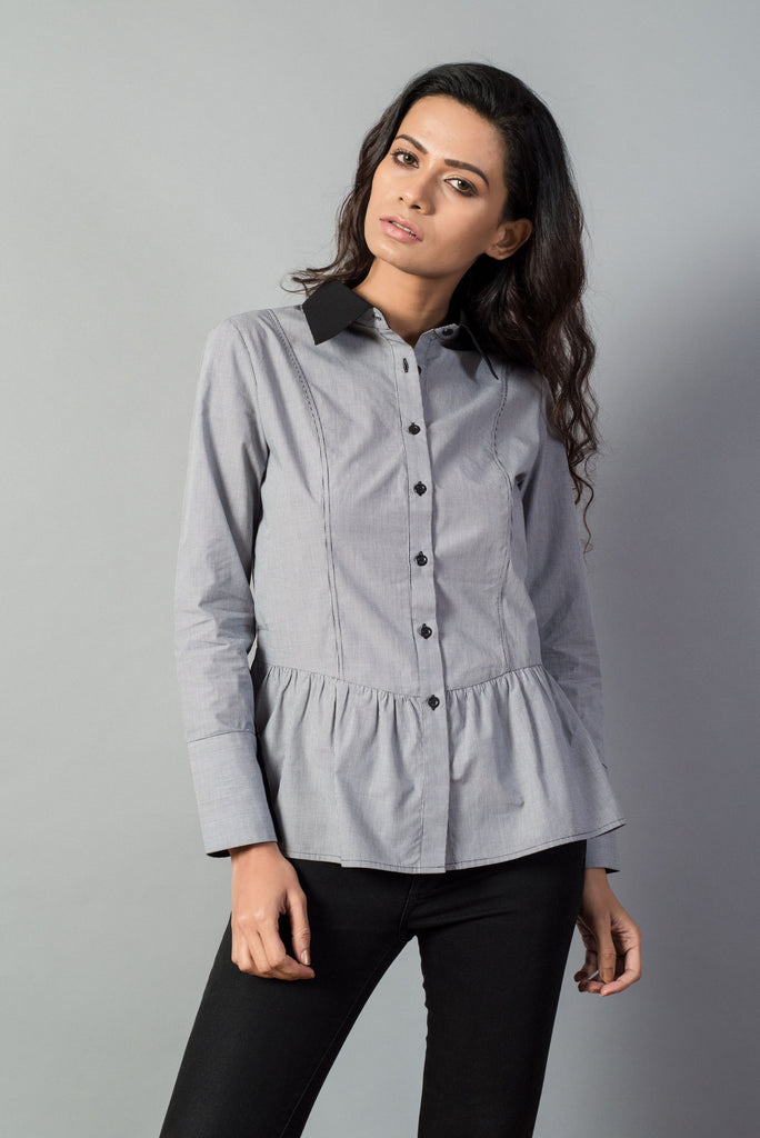 Houndstooth Front Placket Shirt