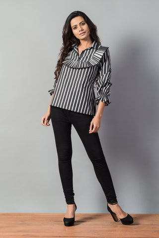 Striped Frill Yoke Smocked Sleeve Top