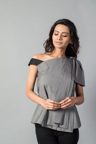 Grey Knot Draped One Shoulder Top