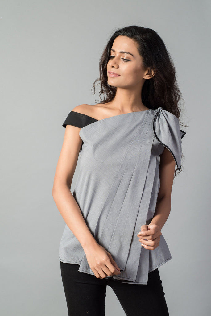 Knot Draped One Shoulder Houndstooth Top