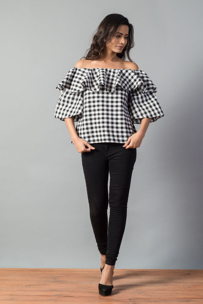 Ruffled Gingham Check Off Shoulder Top