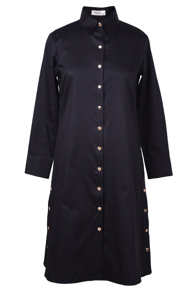 Up-The-Game Black Shirt Dress