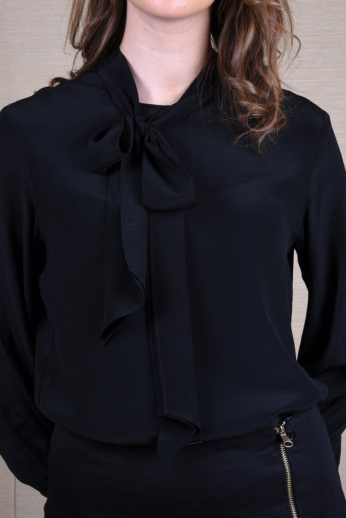 Uptown Silk Black Blouse Top