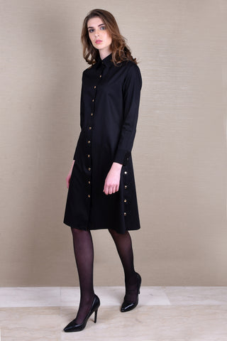 Timeless Black Shirt Dress with Corset Belt
