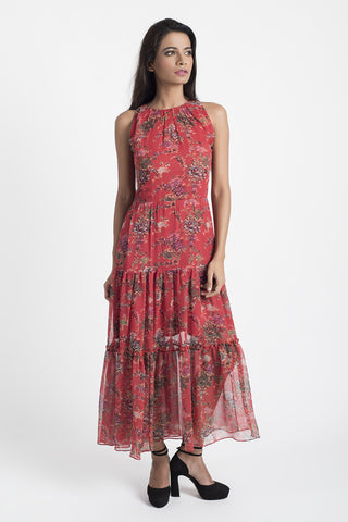 Pink Abstract Print Chiffon Dress