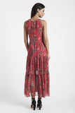 Red Silk Chiffon Maxi Dress