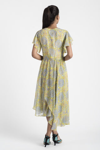 Yellow Silk Chiffon Dress