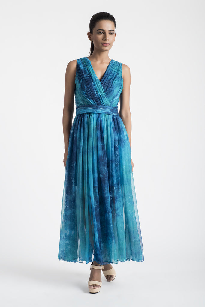 Blue Abstract Print Ruched Dress