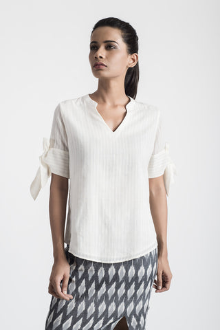 White Bow Sleeve Cotton Top