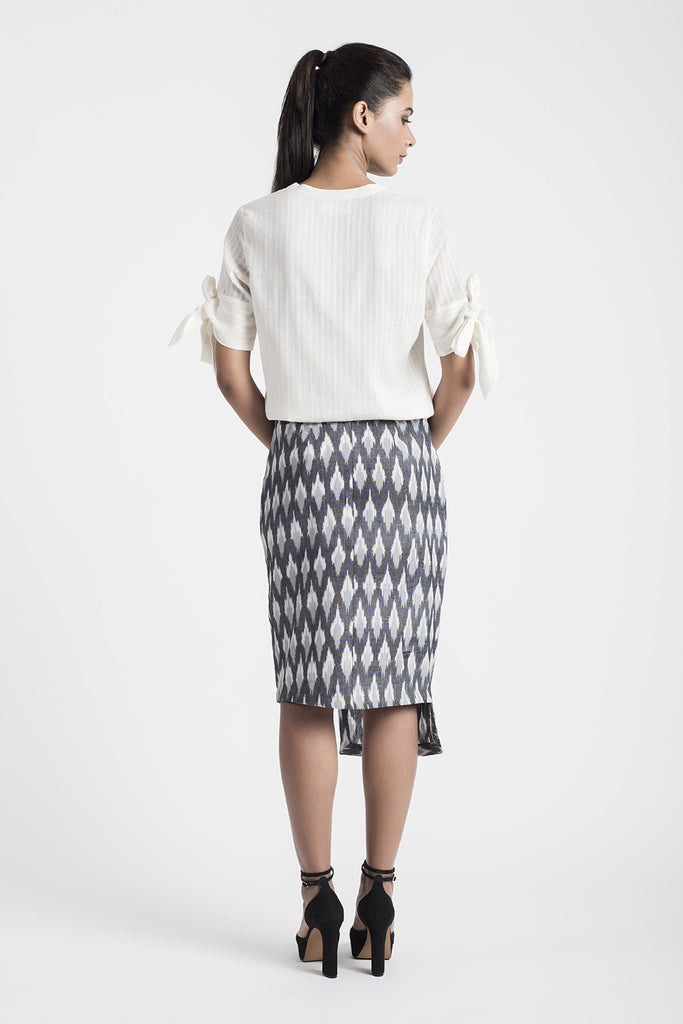 Grey Handwoven Ikat Skirt