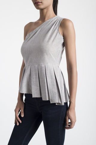 Grey Striped One Shoulder Top