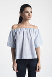 Blue Cotton Off-Shoulder Top