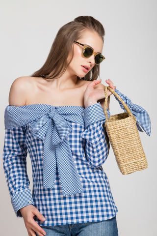 Spring Fling Coral Gingham Petal Bow Top