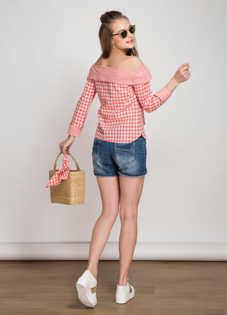 Off Shoulder Coral Gingham Bow Tie Top
