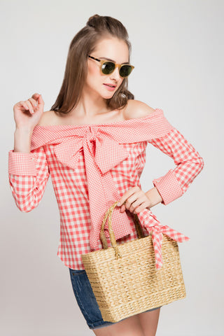 Dotted Ruffle Sleeve Top