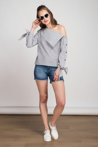 Le Weekend Grey Striped Top