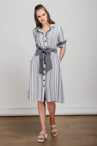 Grey Ruffle Collar Dress