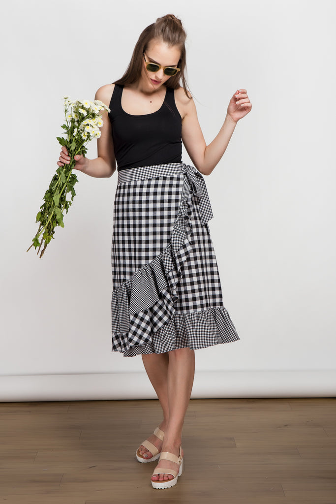 Frill Seeker Black Gingham Mock Wrap Skirt
