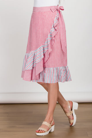 Frill Seeker Red Striped Mock Wrap Skirt