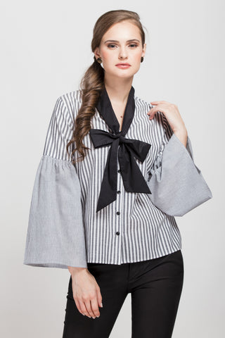 Blue Checkered Bow Sleeves Victorian Top