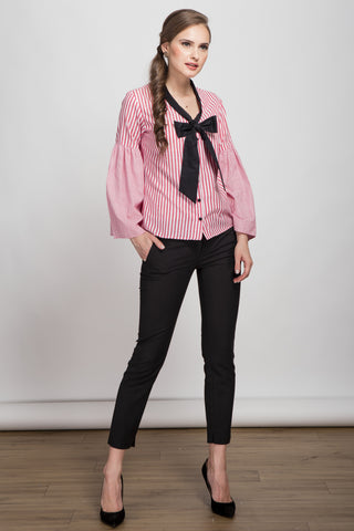 Top Knot Red Striped Button Front Shirt