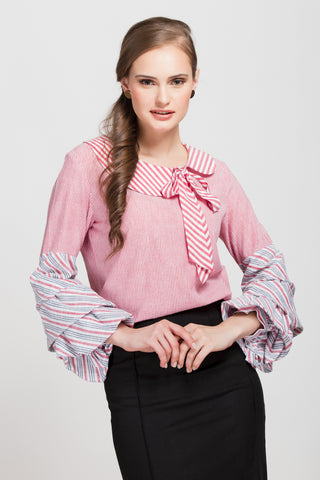 Le Weekend Red Striped Top