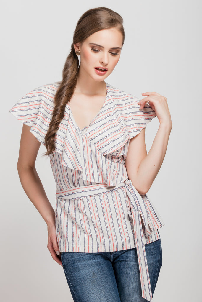 Less Monday Coral Striped Wrap Top