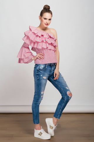 Wanderlust One Sleeved Ruffled Red Stripe Top