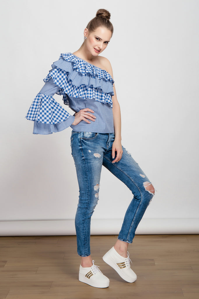 Wanderlust One Sleeved Ruffled Blue Gingham Top