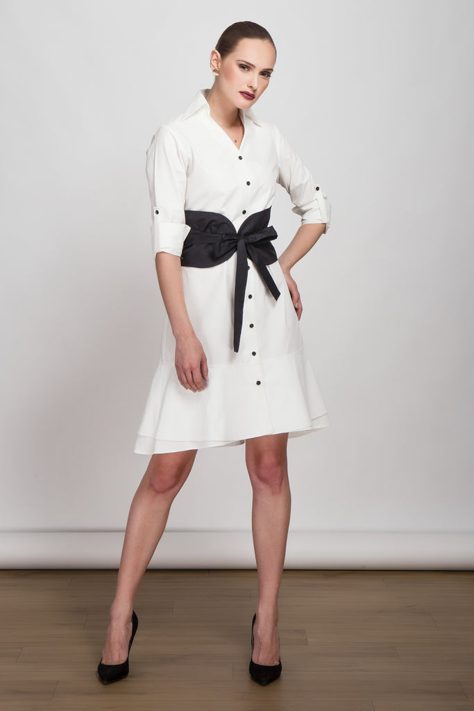 Timeless White Shirt Dress with Corset Belt