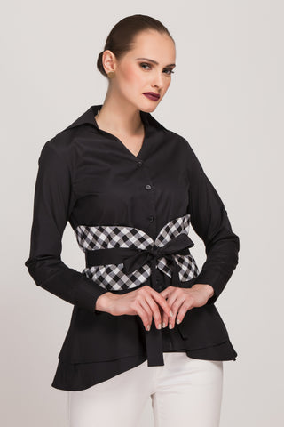 Stripe Story - Black Back Tie-Up Top