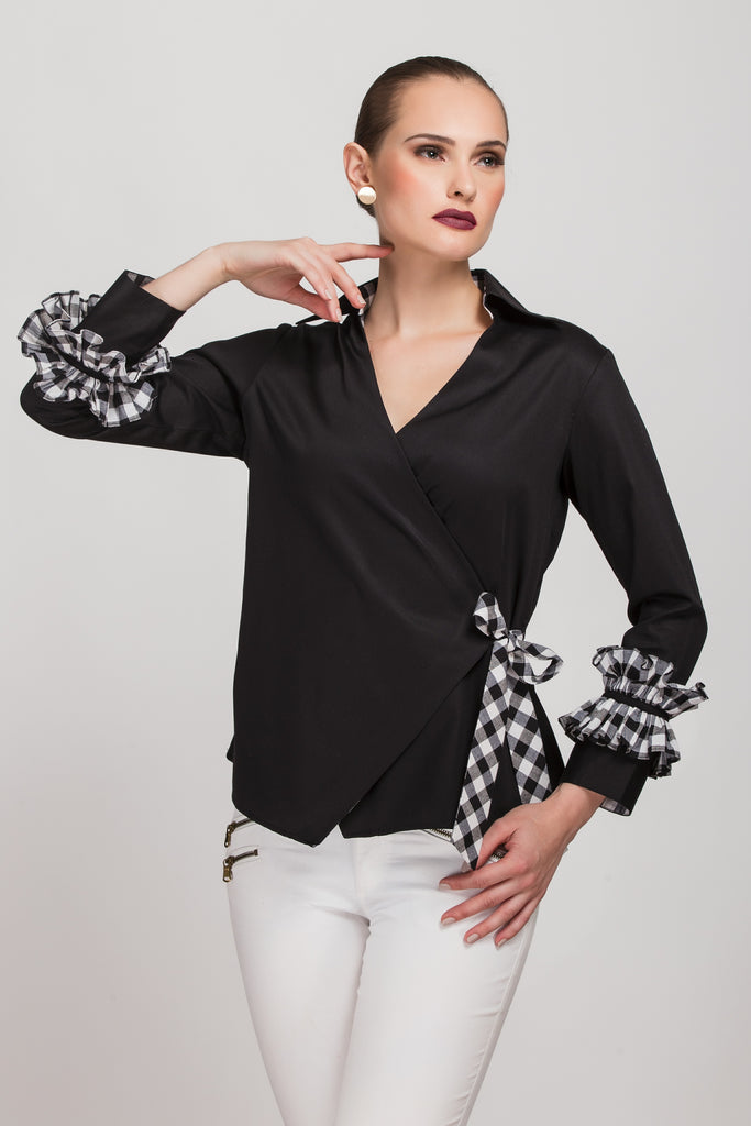 Origami Black Wrap Top