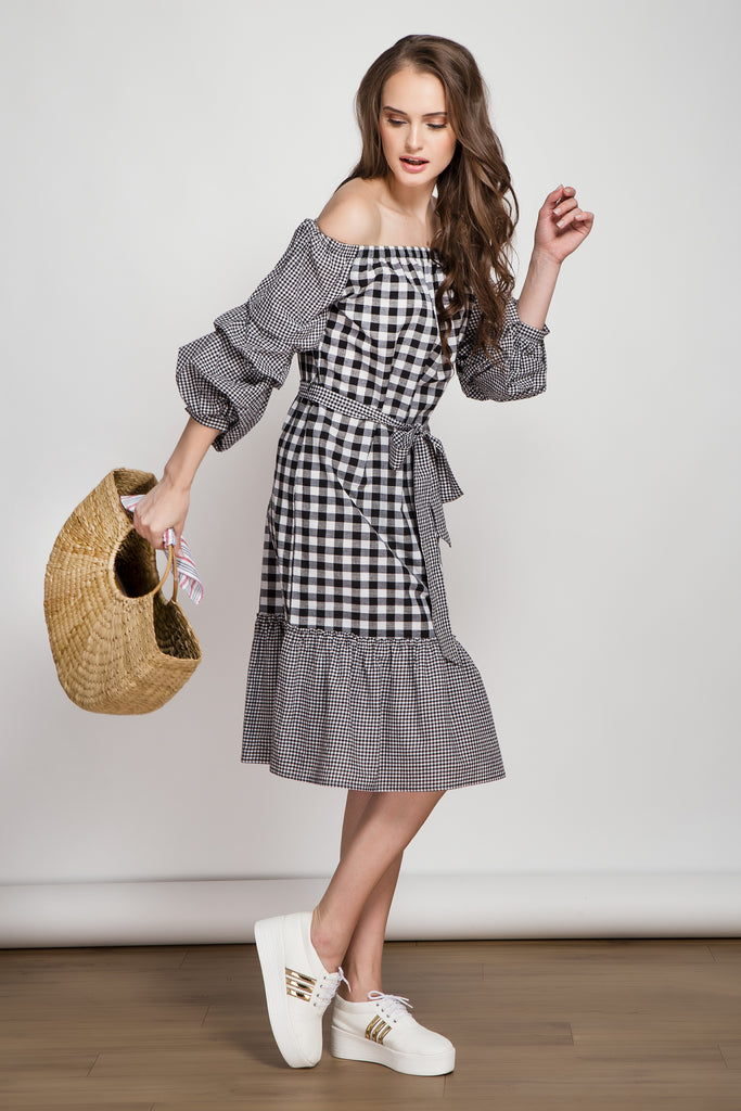 Storyteller Black Gingham Midi Dress