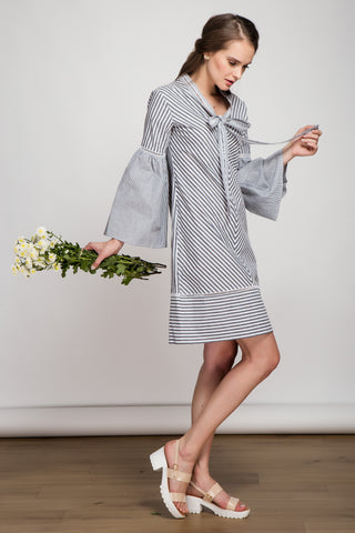 Daydreamer Grey Striped Shift Dress
