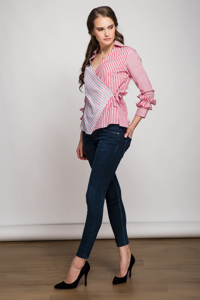 Origami Red Striped Wrap Top