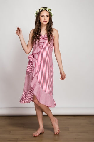 Pink Striped Cotton Dress