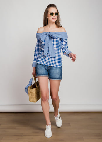 Off Shoulder Blue Gingham Bow Tie Top