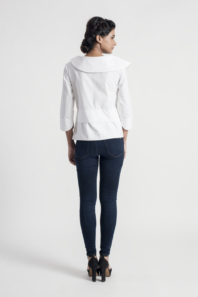 Frieze White Shawl Collar Top