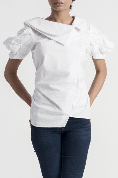 Cornice White Double Collar Top