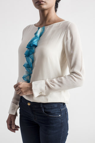 Ivory Dip-Dyed Long Ruffle Shirt