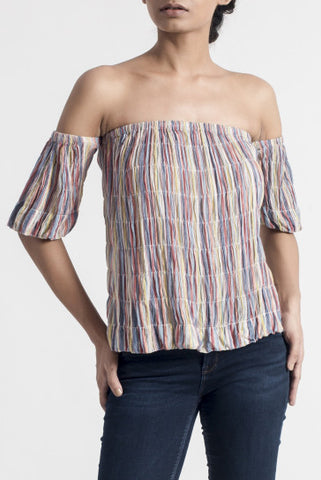 Multicolour Cotton Off-Shoulder Top