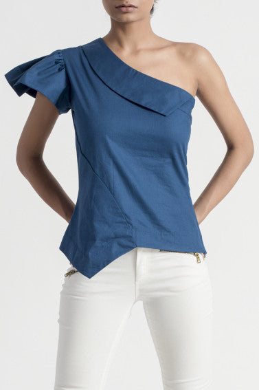 Poppy Teal One Shoulder Top