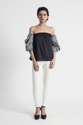 Ivory Georgette Pleated Shirt