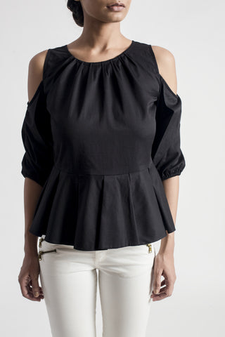 Black Cold Shoulder Peplum Top